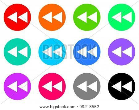 rewind flat design modern vector circle icons colorful set for web and mobile app isolated on white background