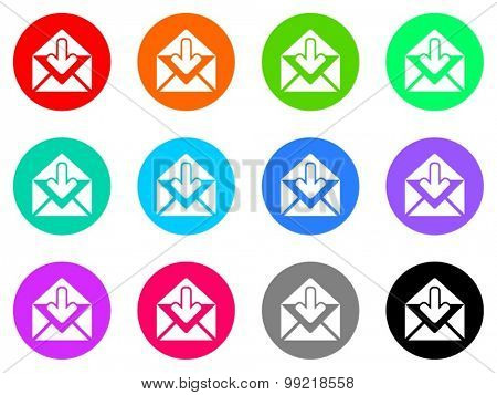 email flat design modern vector circle icons colorful set for web and mobile app isolated on white background