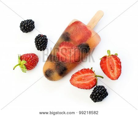 Fruits Ice Lolly With Fresh Berries