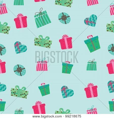 Pattern of boxes with gifts