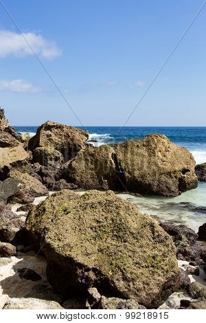 Rock Formation On Coastline At Nusa Penida Island
