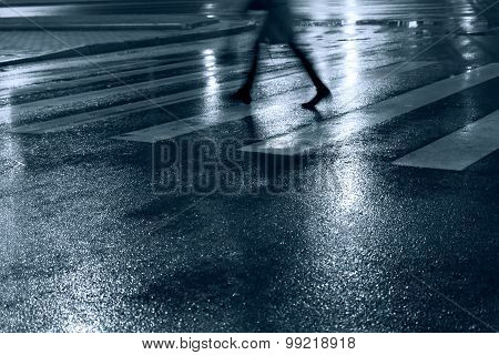Pedestrian Zebra Crossing At Night