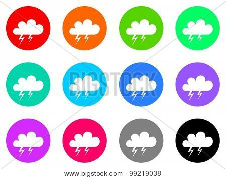storm flat design modern vector circle icons colorful set for web and mobile app isolated on white background