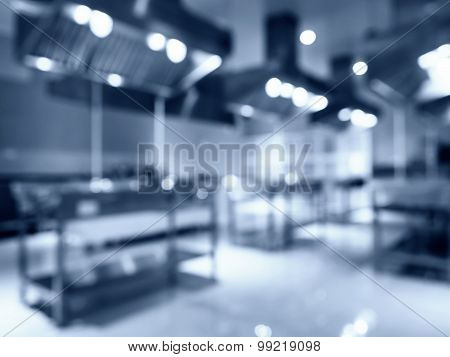 Blurred Modern Kitchen Appliance Interior In Hotel