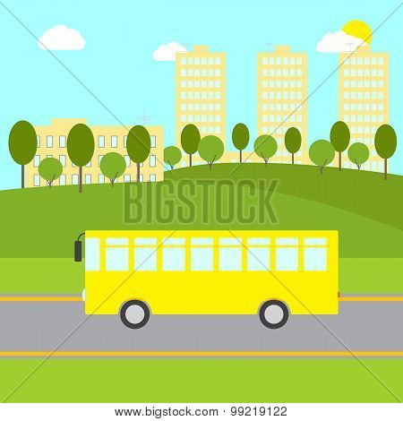 Landscape With Yellow Bus