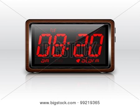 Digital Alarm Clock In Wooden Case