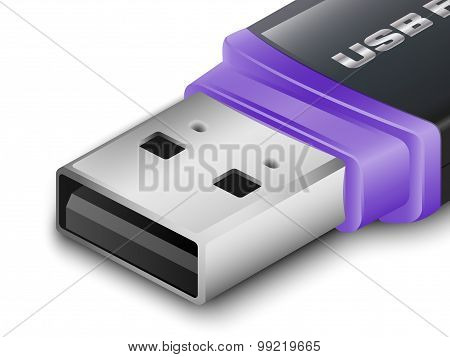 Close-up Usb Flash Drive. Vector