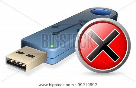Usb Flash Drive With Breakdown Sign