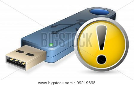Usb Flash Drive With Warning Sign