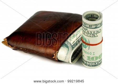 Brown Leather Wallet With Money