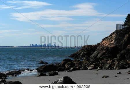 Boston Skyline From Far Away Beach