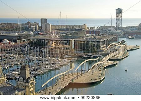 View Of Port Vell  In Barcelona, Spain