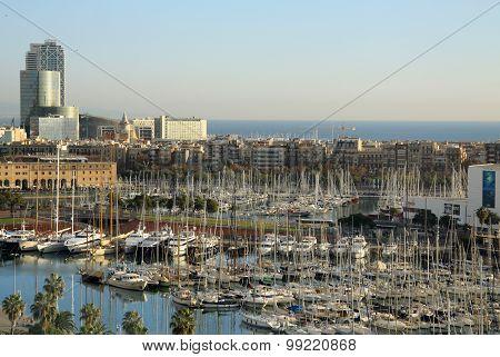 View Of Port Vell  In Barcelona, Spain