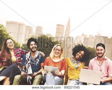 Youth Friends Friendship Technology Together Concept