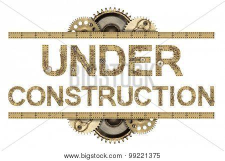 Under construction. Steampunk mechanical metal alphabet