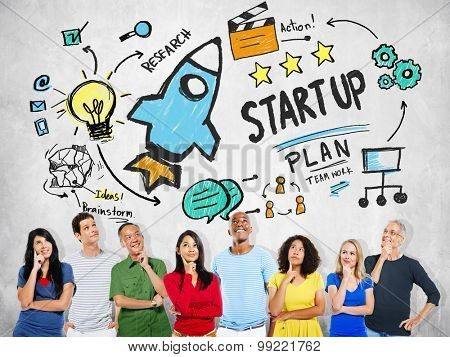 Start Up Business Launch Success People Thinking Concept