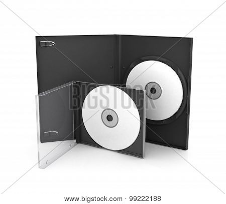 Open The Box For Sd And Dvd Discs With A Blank Disc Inside, Isolation On A White