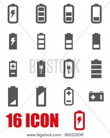 Vector Grey Battery Icon Set