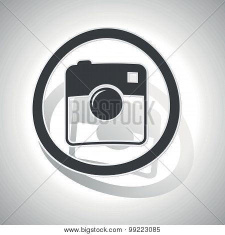 Square camera sign sticker, curved