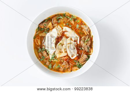 Shorba Chuchvara Soup National Asian Food In Traditional Bowls With Spices And Vegetables On Canvas