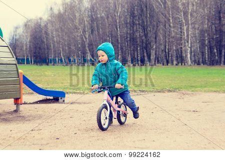 little boy riding runbike in spring