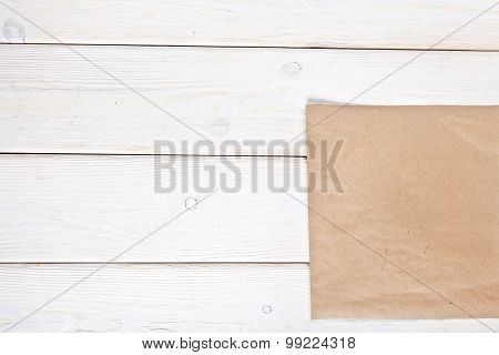 Wooden Background With Blank Paper