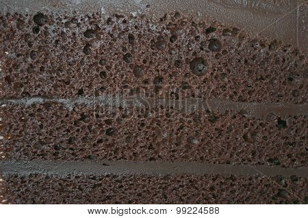 Close Up Layer Of Dark Chocolate Cake Texture