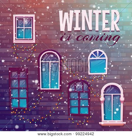 Background of winter with building wall. Vector illustration