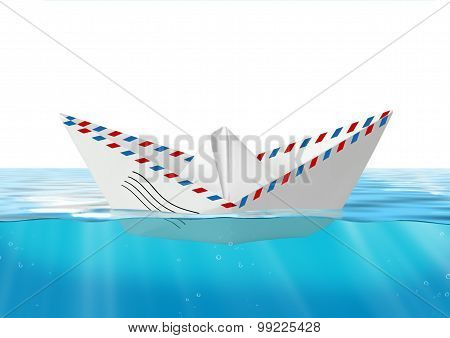 Paper Boat Made From Mail Envelope Floating At Sea, Post Concept