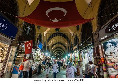 People Shopping In The Grand Bazaar In Istanbul, Turkey