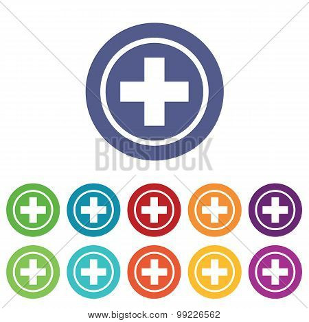 Medical emblem icons colored set