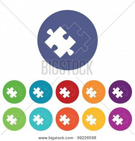 Matching puzzle icons colored set