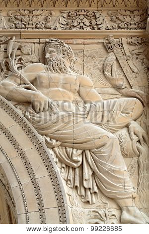 PARIS, FRAANCE - SEPTEMBER 11, 2014: Paris - Architectural fragments of Triumphal Arch (Arc de Triomphe du Carrousel) at Tuileries. Tuileries Garden - public garden located between Louvre and Concorde Place. It was opened in 1667. Paris France
