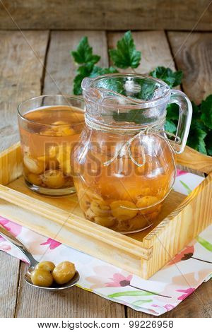 Gooseberry Compote In A Jar On A Wooden Tray