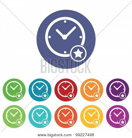 Best time icons colored set