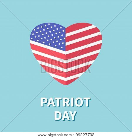 Heart Shape Flag Star And Strip Patriot Day Flat Design