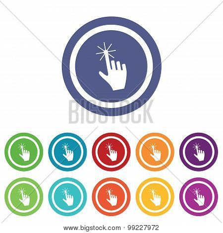 Hand cursor signs colored set