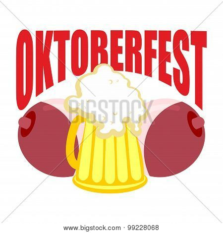 Oktoberfest. Beer Mug Between Tits. Symbol Of Beer Festival In Germany.