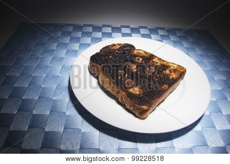 Raisin Toast On Plate