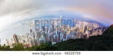 Panoramic day to night transition of Hong Kong