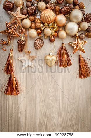 Christmas Tree Ornaments In Bronze Tones
