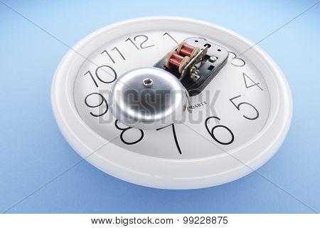 Alarm Bell On Wall Clock