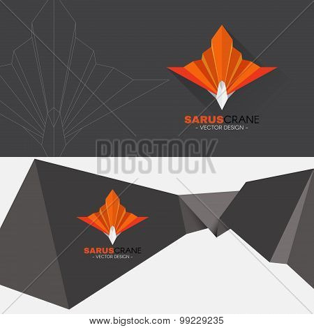 Orange Sarus crane bird paper sharp logo vector design