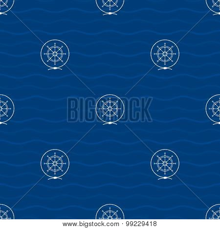 Seamless Pattern With Ship's Wheel