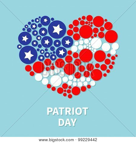Round Dot Heart Flag Star And Strip Patriot Day Flat Design