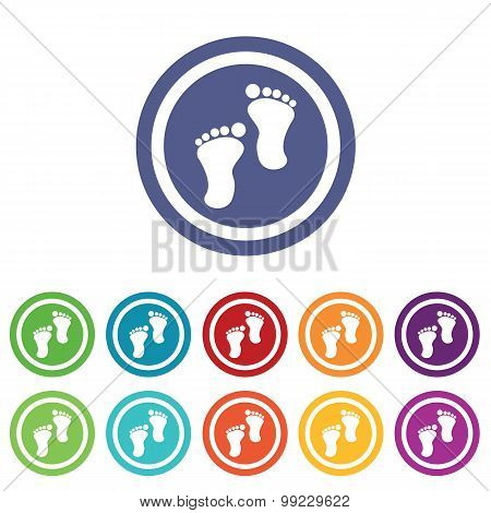 Footprint signs colored set