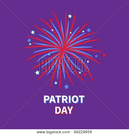 Patriot Day Big Fireworks Night Sky Star And Strip  Flat Design