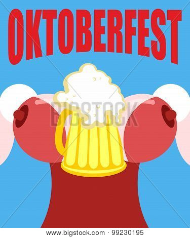 Woman In A Corset With A Mug Of Beer. Illustration For Oktoberfest.