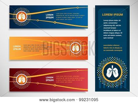 Lung Icon On Modern Abstract Flyer, Banner, Brochure Design Template