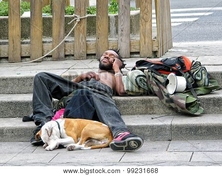 Homeless Man And His Dog